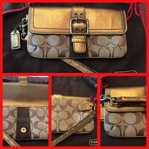 Brown and bronze Coach wristlet